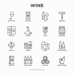 Wine thin line icons set: corkscrew, wine glass, cork, grapes, barrel, list, decanter, cheese, vineyard, bucket, shop, delivery. Modern vector illustration.