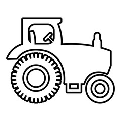 Tractor icon. Outline illustration of tractor vector icon for web design isolated on white background