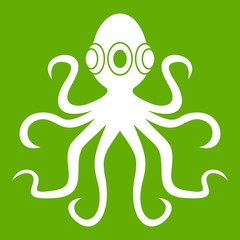 Octopus icon white isolated on green background. Vector illustration