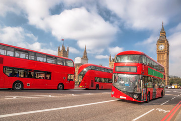 Wall Mural - Big Ben with red buses in London, England, UK