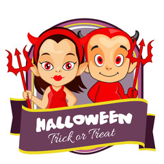 halloween badge with pair devil cartoon