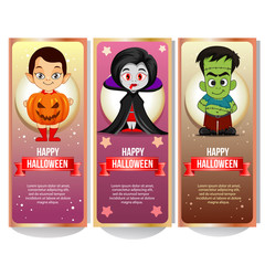 halloween banner collection with spooky cartoon character