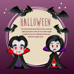 halloween card with vampire dracula cartoon costume
