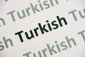 word Turkish language printed on paper macro