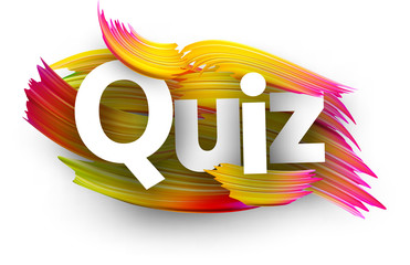 Quiz card with colorful brush strokes.