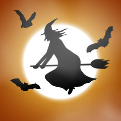 Scary haloween vector with a witch flying in front of a full moon.