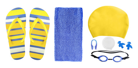 Top view of equipment and accessories for swimming pool isolated on white background. Swim cap, ear plugs, goggles etc.