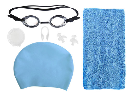 Top view of equipment and accessories for swimming pool isolated on white background