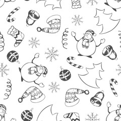 Christmas seamless pattern of spruce, Christmas balls, snowflakes, felt boots, snowmen, caps and lollipops on white background. Hand drawing. Vector illustration.