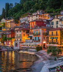 Scenic view in the beautiful Varenna in the evening, on Lake Como, Lombardy, Italy.