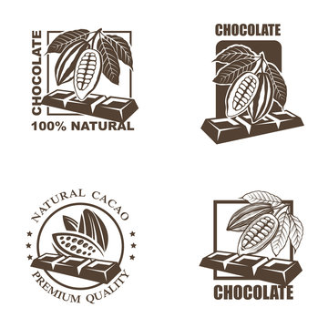 collection of labels with cocoa beans and chocolate