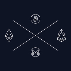 Minimal design for t-shirt with emblems of cryptocurrencies