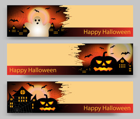 Set of three Halloween banners with pumpkin and ghost, bat and castle. Vector illustration.