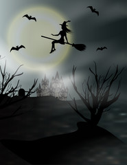 Halloween vertical background with flying young witch and full moon. Fantasy night view. Vector