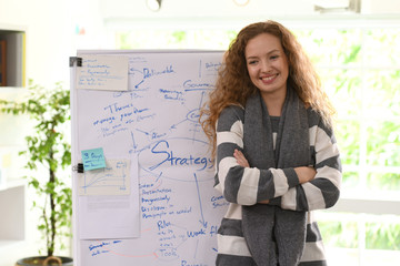 Portrait of smilling businesswoman standing at office in front of flip chart
