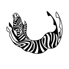 Vector isolated stylized image of a Zebra arched in a jump