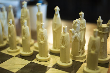 Closeup of Ornate Chess Pieces on a Chess Board
