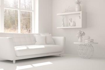White room with sofa. Scandinavian interior design. 3D illustration
