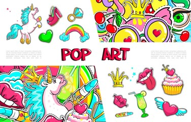 Pop Art Girl Fashion Badges Collection
