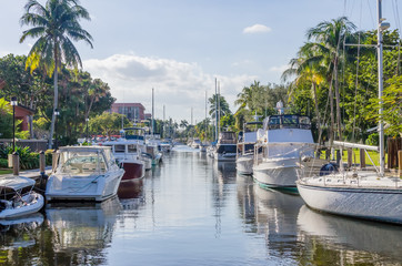 View of canal with boats in the Fort Lauderdale area
