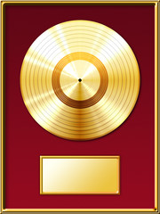 Gold record music disc award inside the golden frame with a red background. Isolated on white background.