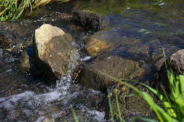 natürlicher Steindamm in klar fließendem Wasser