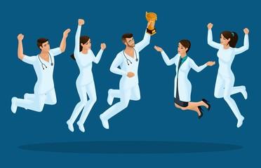 Isometrics doctors jump, happiness. Surgeons, paramedics, nurses jump in medical clothes, joy. Set for illustrations