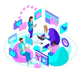 Isometric company of teenagers with modern gadgets, communicate in social networks and the Internet. Bright, colorful advertising concept
