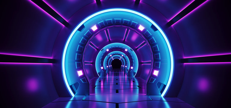 Sci-Fi Futuristic Abstract Gradient Blue Purple Pink Neon Glowing Circle Round Corridor On Reflection Concrete Floor Dark Interior Room Empty Space Spaceship Technology Concept 3D Rendering