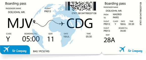 Blue boarding pass or airline ticket, traveler check template with globe silhouette on background. Travel or vacation concept