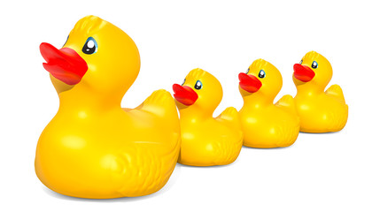 Rubber duck family, 3D rendering