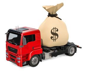 Truck with money bag, 3D rendering