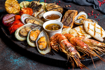 Seafood grilled on plate