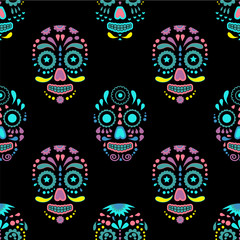Day of The Dead colorful sugar skull with floral ornament and flower seamless pattern. Dia de los muertos, the skull pattern is made in bright colors, colorful skulls for the holiday of the dead