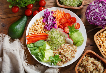 Vegetarian food. Plate of healthy salad with quinoa and vegetables