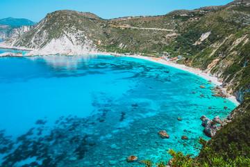 Aluminium Prints Indonesia Myrtos beach. Clear azure blue sea water in beautiful bay. Favorite tourist visiting destination place at summer on Kefalonia island, Greece, Europe