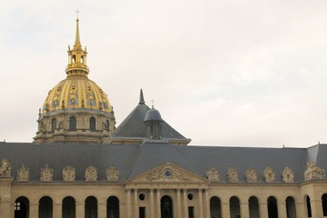 "Church of the house of disabled Paris France. ""Les Invalides"" is complex of museums and monuments in Paris military history of France. tomb of Napoleon Bonaparte"