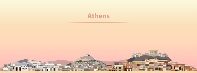 vector illustration of Athens skyline at sunrise