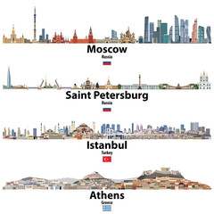 Fototapete - cityscapes of Moscow, Saint Petersburg, Istanbul and Athens. Flags of Russia, Turkey and Greece. Vector high detailed illustration