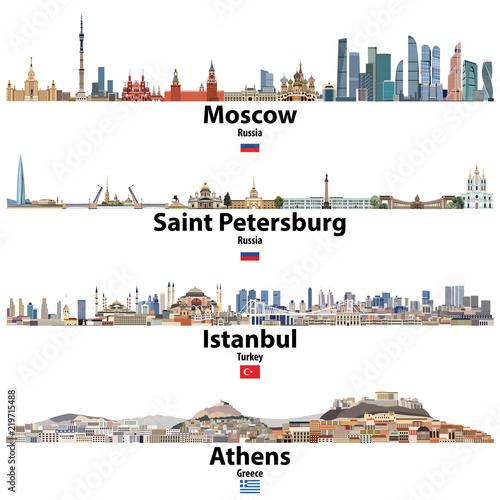 Fototapete cityscapes of Moscow, Saint Petersburg, Istanbul and Athens. Flags of Russia, Turkey and Greece. Vector high detailed illustration