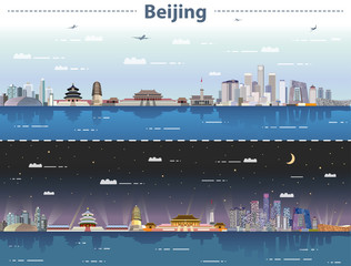 Fototapete - vector abstract illustration of Beijing  skyline at day and night