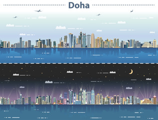 vector illustration of Doha skyline at day and night