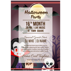 halloween party poster template with vampire cartoon