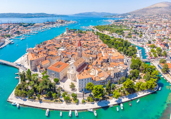 Staande foto Kust Aerial view of Trogir in summer, Croatia