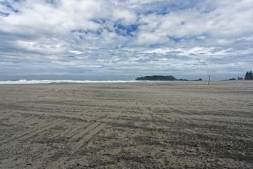 Beach in tauranga,m Mount Maunganui during a storm