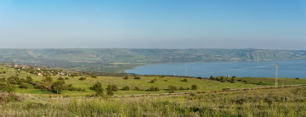 Golan Heights and Sea of Galilee in Israel at foggy spring day.
