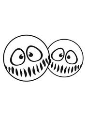 2 freunde team paar kreis rund lustig süß neidlich mund fresse grinsen monster böse gesicht comic cartoon clipart horror halloween