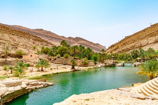 Wadi Bani Khalid in Oman. It is located about 203 km from Muscat ant 120 km from Sur.