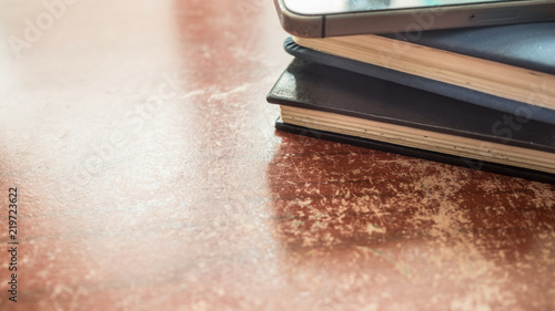 Canvas Prints notebook close up on wood background