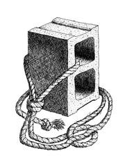Cinder Block and Rope